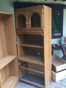 1 Large book Shelf, 1 Large book shelf with glass show case top.