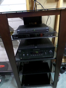 LIKE NEW AUDIO STAND WITH GLASS SHELVES