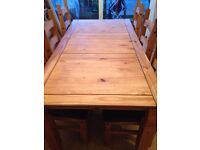 Mexican pine 6 seat dining table and 9 draw sideboard