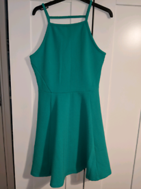 H & M green skater dress - size 12