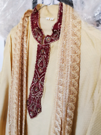 Mens Sherwani Top and Scarf - REDUCED