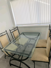 Glass dining table, metal frame, 4 chairs