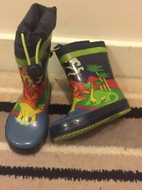 Clarks dinosaur Wellies with toggle tops