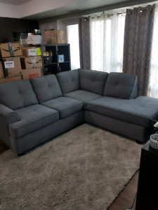 Gray Fabric Sectional - Excellent Condition