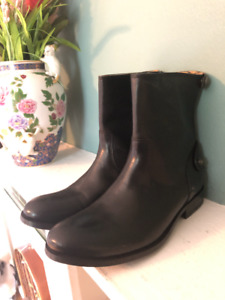 Frye Melissa Button Short Boots Womens Leather Back Zip Country