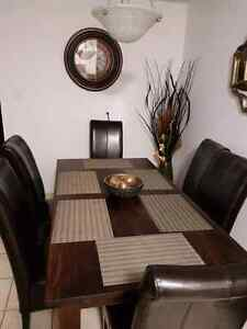 Dining set leather chairs solid wood