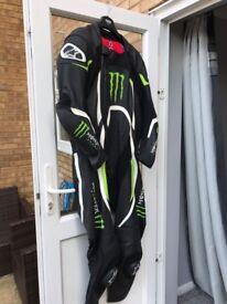 Mens Alpinestars Xelos Monster Energy 1 Piece Leather Motorbike Suit