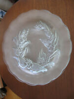 SET of 4 VINTAGE MATCHING EMBOSSED GLASS 10-IN. SERVING PLATES