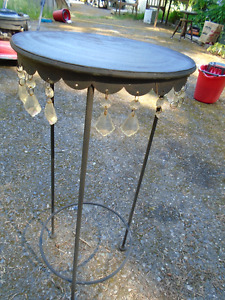 Vintage Wrought Iron Table or Plant Stand with Prisms