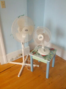 Hampton Bay pedestal and desk fans