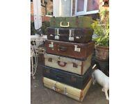 Vintage suitcases x6, storage display, pet beds etc