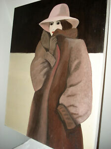 Original Large Bouchard Signed Painting Lady Hat 1980s