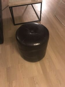 Dark leather poof / bench / seat / ZONE