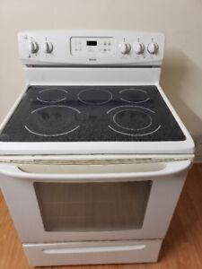 "Kenmore white 30"" ceramic glass top stove range oven 4 sale"