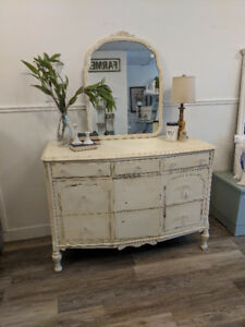 Antique Grand Dresser with Matching Mirror Available