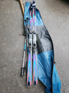 Winter skis, poles and bag