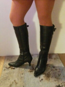 Size 7 - 7.5  -  tall black leather boots, caramel booties