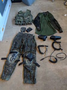 Assorted paintball gear