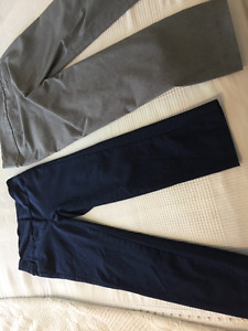 2 pairs Suzy Sheir straight pants with buttons / Size 7-8