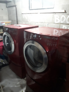 WHIRLPOOL FRONT LOADER WASHER DRYER w STANDS