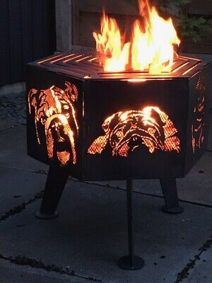Bulldog  hexagonal fire pit with top grill