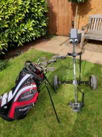 Set of clubs, carry/stand bag, golf trolley, balls, tees