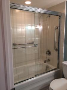 """57.5"""" x 57.5"""" Bath Tub Shower Door with towel bar"""