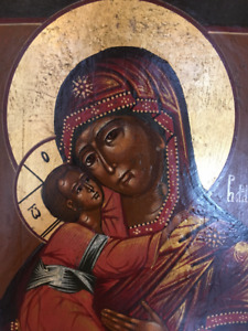 Antique Icon virgin Mary and baby Jesus