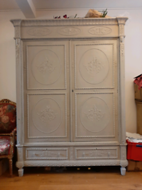 Antique rustic Grey Painted Double Wardrobe Georgian Style