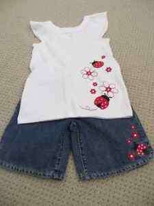 Gymboree - Girls Size 9 Denim Shorts & Matching Ladybug Top