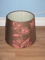 BROWN LAMP SHADE WITH PINK FLOWERS