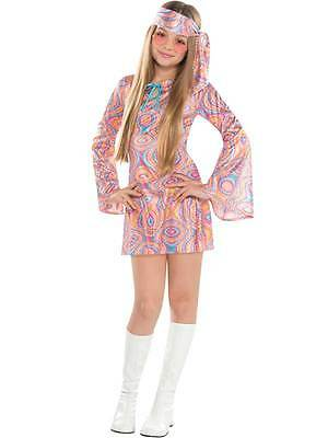 Disco Chick Costume (Girls Teen 60 70 Disco Chick Fancy Dress Costume Disco Diva Hippy Kids Ages)