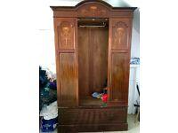 Victorian Wardrobe with mirror and inlay mahogany