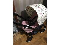 Bugaboo bee 3 limited edition pastel pink lenka extending stars hood