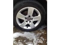 "Audi A4 genuine 16"" alloy wheels and tyres"