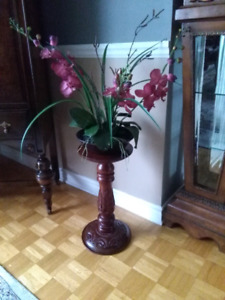 Antique hand carved wood pedestal  table plant stand
