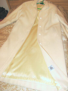 Pure Virgin Wool Cream Colored Full lenth Ladies Coat - Size 12