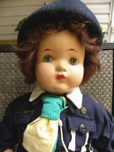1940's RELIABLE COMPOSITION GIRL GUIDE DOLL ST JEROME QUEBEC