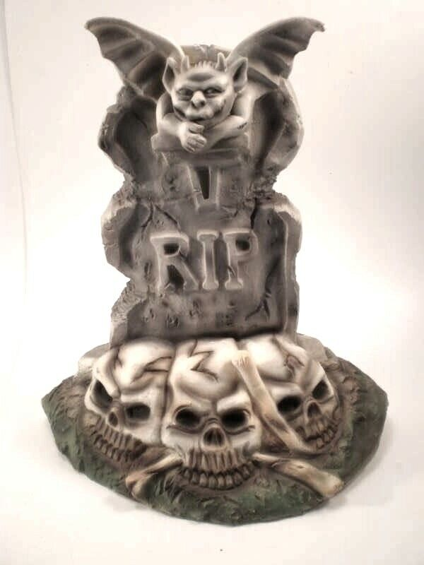 "12"" Gargoyle RIP Tomb Skulls Halloween Decoration Fake Cemetery"