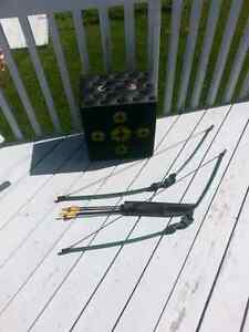 Bow and arrow set with target. Kid size