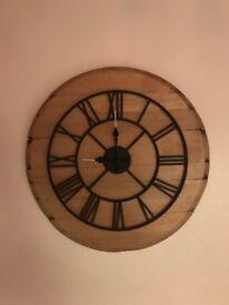 Oak whiskey barrel lid clock.