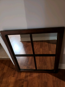 Mirror hand made dark walnut stain  23.5 x 27 inches