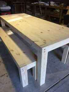 Unfinished Harvest Table + Bench London Ontario image 1