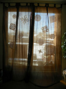 NINE PANELS OF BROWN COLOURED CURTAINS $8 EACH PANEL