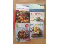 Assortment of healthy recipe books including Weight Watchers
