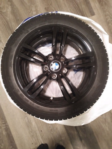 """4 Michelin X Ice winter tires 225/50R17 with 17"""" BMW black rims"""