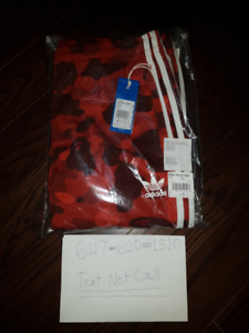 BAPE X ADIDAS TRACKSUIT BOTTOMS RED EXTRA LARGE (XL)