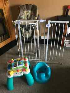 Graco high chair, bumbo, safety gate, leap frog learning path