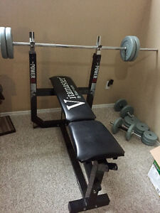 Vita master weight bench with bar, bar stand and weights