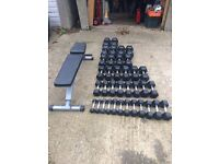 Body Power Dumbbell Set Pairs 1-30KG and Powerline Weight Bench